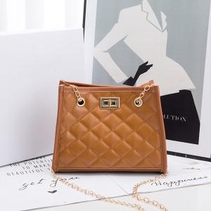 Chain Strap Patchwork Pattern Twist Lock Handbags - Brown