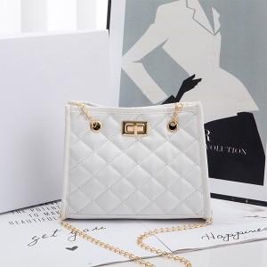 Chain Strap Patchwork Pattern Twist Lock Handbags - White