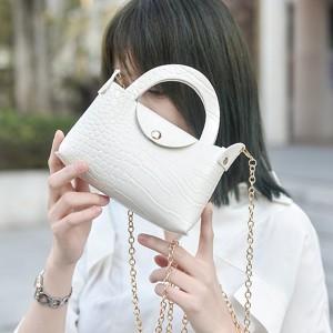 Button Closure Textured Chain Strap Handbags - White