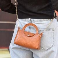 Button Closure Textured Chain Strap Handbags - Brown