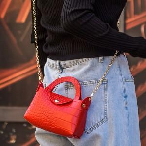 Button Closure Textured Chain Strap Handbags - Red