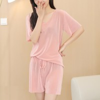 V Neck Short Sleeves Solid Two Pieces Pajama Suit - Pink