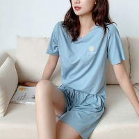 Floral Thread Art Short Sleeves Two Pieces Pajama Suit - Blue
