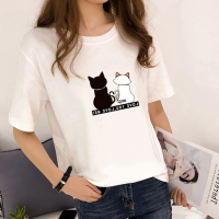 Cat Printed Round Neck Short Sleeves T-Shirt - White