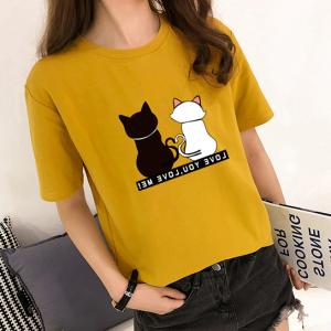 Cat Printed Round Neck Short Sleeves T-Shirt - Yellow