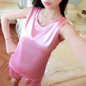 Satin Two Pieces Sexy Nightwear Pajama Set - Pink