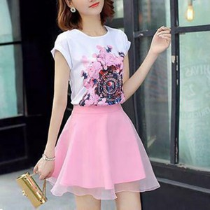 Floral Printed T-Shirt With Skirt Two Pieces Suit - Pink