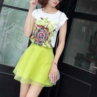 Floral Printed T-Shirt With Skirt Two Pieces Suit - Yellow