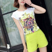 Floral Round Neck Printed Top With Bottom Shorts Suit - Yellow