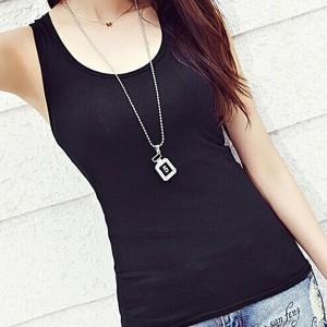 Sleeveless Round Neck Solid Color Top - Black