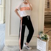 Sports Wear Narrow Bottom Trouser With T-Shirt Two Pieces Suit