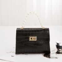 Crocodile Pattern Pearls Strip Women Messenger Bag - Black