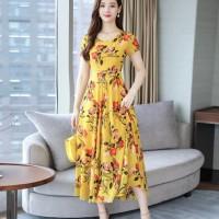 Women Short Sleeves Casual Wear Long Dress - Yellow