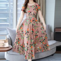 Women Short Sleeves Casual Wear Long Dress - Pink