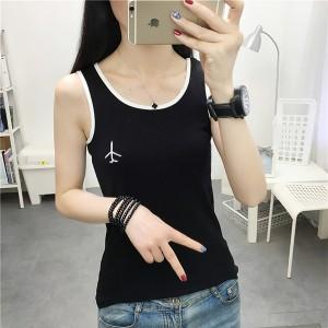 Round Neck Sleeveless Embroidered Shirt Tops - Black