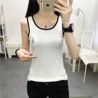 Round Neck Sleeveless Embroidered Shirt Tops - White