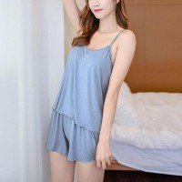 Spaghetti Strapped Two Piece Nightwear Pajama Suit - Blue