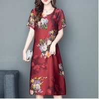 Floral Printed Round Neck Midi Dress - Red