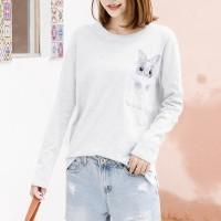 Full Sleeves Rabbit Printed Cute T-Shirt - White