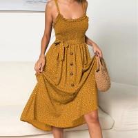 Strap Shoulder Button Up Midi Dress - Yellow