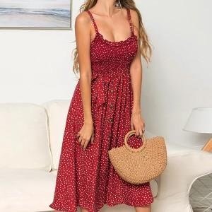 Printed Strap Shoulder A-Line Dress - Red