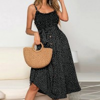 Strap Shoulder Button Up Midi Dress - Black