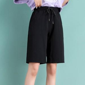 Elastic String Waist Casual Wear Bottom Shorts - Black