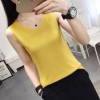 V Neck Sleeveless Sober Women Top - Yellow
