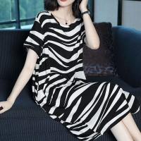 Zebra Printed Round Neck Midi Dress - Black and White