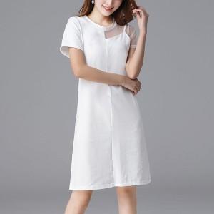 Round Neck Short Sleeves Mini Dress - White
