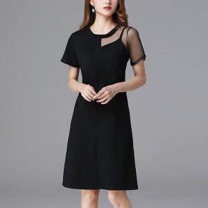 Round Neck Short Sleeves Mini Dress - Black