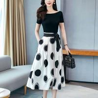 Polka Dots Printed Short Sleeves Contrast Maxi Dress