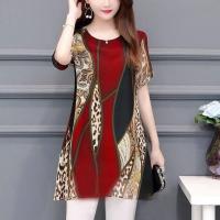 Digital Printed Round Neck Chiffon Mini Dress - Red