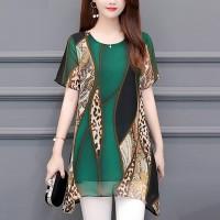 Digital Printed Round Neck Chiffon Mini Dress - Green