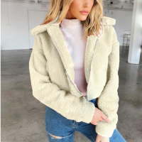 Furry Cute Style Full Sleeves Patchwork Coat Jacket - White