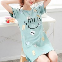 Rabbit Printed Round Neck T-Shirt Dress - Green