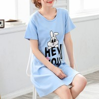 Rabbit Printed Round Neck T-Shirt Dress - Blue