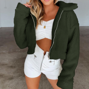 Furry Cute Style Full Sleeves Patchwork Coat Jacket - Green