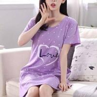Short Sleeved Printed Mini T-Shirt Dress - Purple