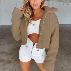 Furry Cute Style Full Sleeves Patchwork Coat Jacket - Coffee