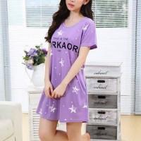 Short Sleeved Stars Printed Mini T-Shirt Dress - Purple