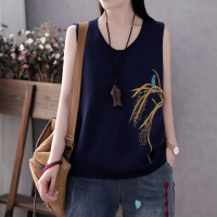 Printed Sleeveless Round Neck Loose Top - Dark Blue