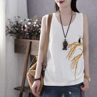 Printed Sleeveless Round Neck Loose Top - White