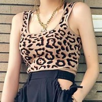 Leopard Printed Mini Camisole Top - Khaki
