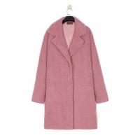 Suit Neck Full Sleeves Long Jacket Coat - Pink