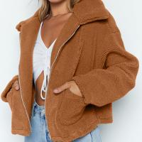 Zipper Closure Shirt Collar Full Sleeves Jacket - Brown