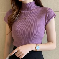 Ribbed Stand Neck Cap Sleeve Mini Fitted Top - Purple