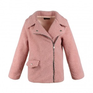Zipper Closure Suit Neck Full Sleeves Jacket - Pink