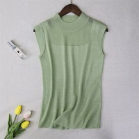 Round Neck Thin Fabric Patched Sleeveless Elegant Top - Green