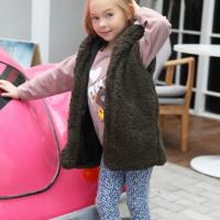 Furry Sleeveless Kids Wear Outwear Cardigan Jacket - Green